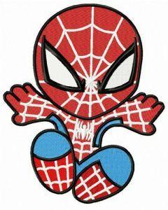 Chibi Spiderman attacks embroidery design