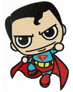 Chibi superman attacks embroidery design