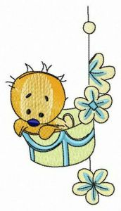 Chick in basket embroidery design