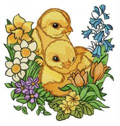 Chickens and garden flowers embroidery design