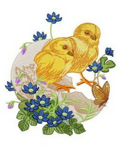 Chicks hatched embroidery design