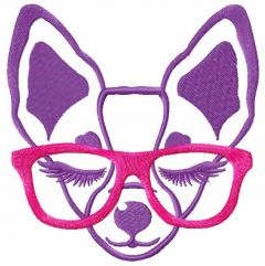Chihuahua with pink glasses embroidery design