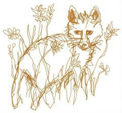 Children's fox drawing embroidery design