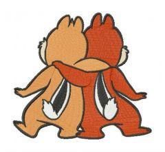 Chipmunk brothers embroidery design