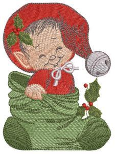Christmas baby elf embroidery design