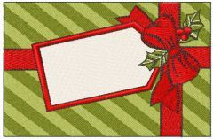 Christmas box with label embroidery design