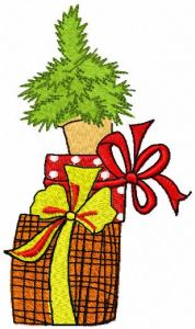 Christmas boxes and tree embroidery design