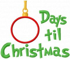 Christmas countdown embroidery design