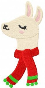 Christmas llama with red scarf embroidery design