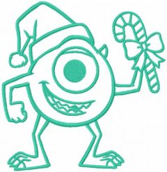 Christmas Mike one colored embroidery design