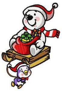 Christmas on the North Pole embroidery design