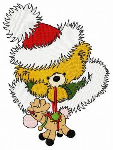 Christmas teddy with toy deer 4 embroidery design