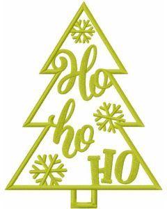 Christmas tree ho ho ho embroidery design