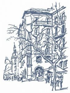 City life embroidery design