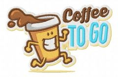 Coffee to go embroidery design