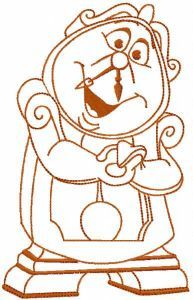 Cogsworth one colored embroidery design