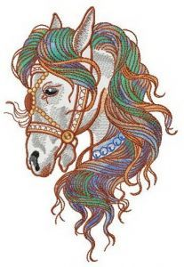 Colorful mane embroidery design