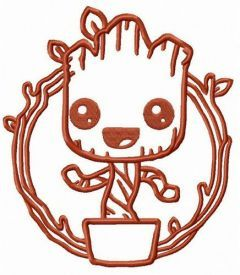 Comic book Groot embroidery design