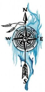 Compass and spirits embroidery design