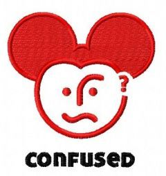 Confused Mickey embroidery design