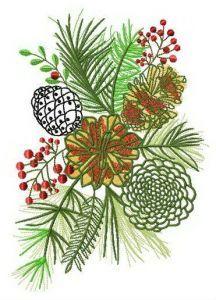 Coniferous bouquet embroidery design