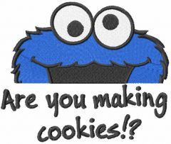 Cookie monster have question embroidery design