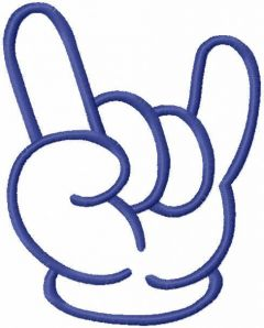 Cool hand gesture free embroidery design