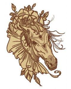 Coquette horse embroidery design
