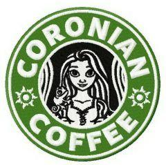 Coronian coffee embroidery design