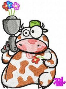 Cow with Flower Gun embroidery design