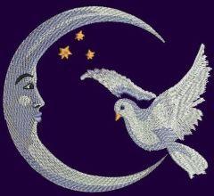 Crescent and dove embroidery design