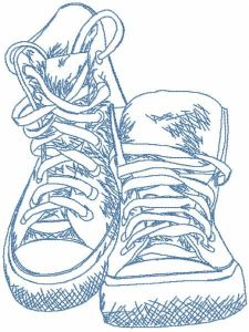 Cross shoes sketch embroidery design