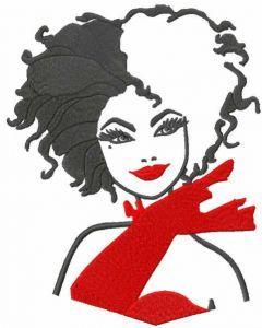 Cruella black and red embroidery design