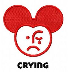 Crying Mickey embroidery design