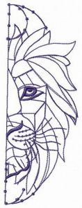 Crystal lion embroidery design