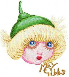 Snugglepot with Gumnut Hat embroidery design