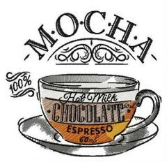 Cup of mocha embroidery design
