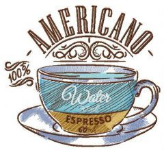 Cup with americano embroidery design