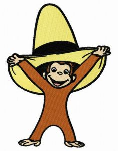 Curious George with yellow hat embroidery design