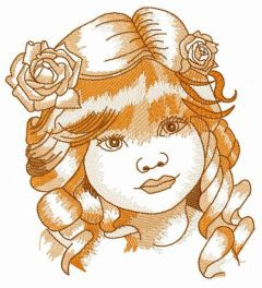 Curious miss embroidery design