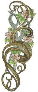 Curl and scissors embroidery design