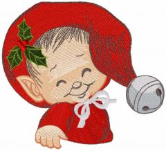 Cute baby elf embroidery design