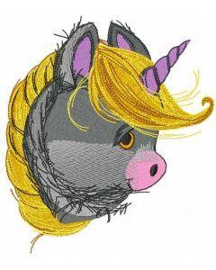 Cute baby unicorn head embroidery design