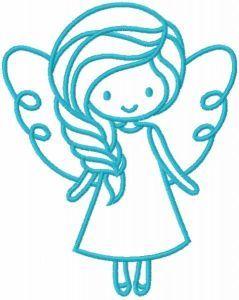 Cute blue fairy free embroidery design