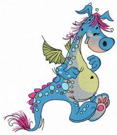 Cute dragon embroidery design