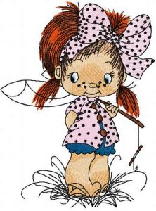 Cute little fisher girl embroidery design