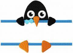 Cute penguin split monogram free embroidery design