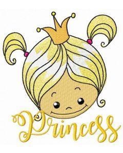 Cute princess face embroidery design