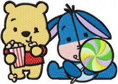 Eeyore and Pooh sweet cuties embroidery design