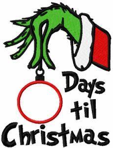 Days til Christmas embroidery design